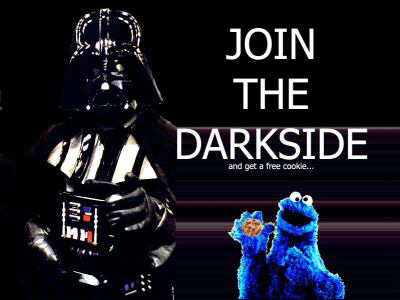 Darth Vader & The Cookie Monster team up in this cross promotion between the dark side and sesame street.  I guess starting them young has always worked in the past!