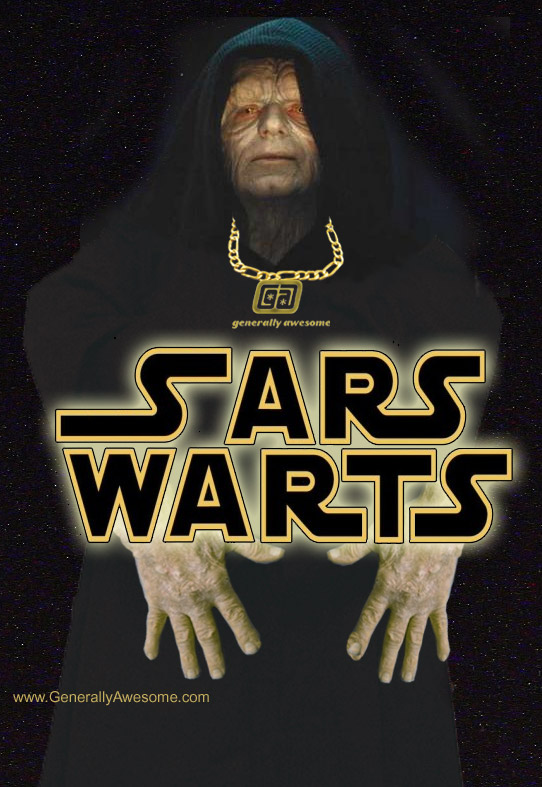 Emperor Palpatine never looked so funny as he does now using photoshop to enhance this picture into a funny Photo.  The Emperor really died of SARS warts!