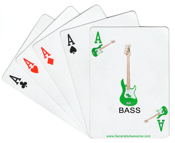 This is a mix of a refernce to music, cards, poker and a band called Ace of Base.  The pop band of the 1990's reaches into the world of cards, with a new suit called the 'bass' suit.