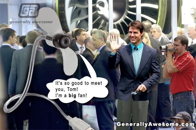 Huge fan meets Tom Cruise.  Hollywood star types always attract a lot of fans. I guess that is what you get when you are a celebrity.  Maybe this guys should start his own fan club!
