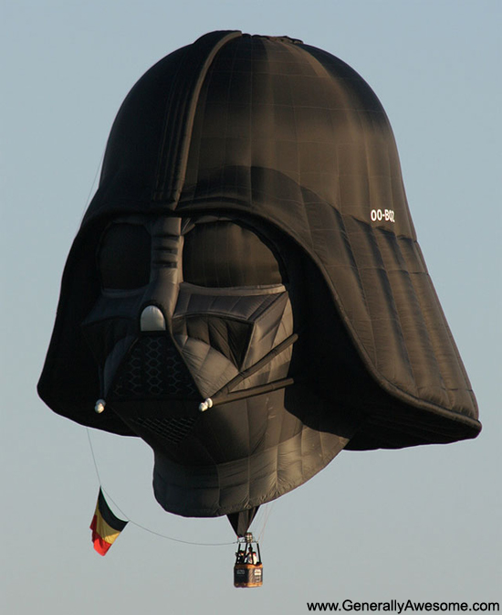 The owner of this hot air ballon is obviously a huge Star Wars fan.  Who else would spring for a Darth Vader ballon?!