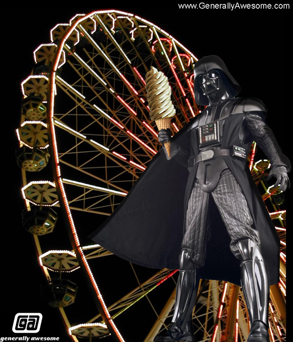 Darth Vader is one hard dude.  The dark Lord is not softy, except when it comes to soft serve ice cream at the carnival.  Also, he apparently enjoys Ferris Wheels for some reason!
