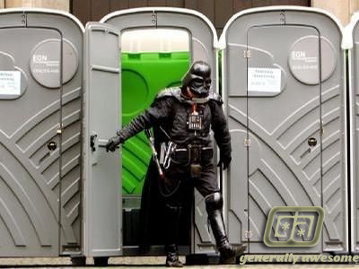 Darth Vader does not look so tough coming right out of the John.  Especially when that is a portable toilet.  Somehow that makes the photo even funnier and more hilarious!