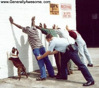 Funny Picture of a cop frisking a bunch of suspects.  Dog thinks he is suspect too!  Enjoy this funny photo