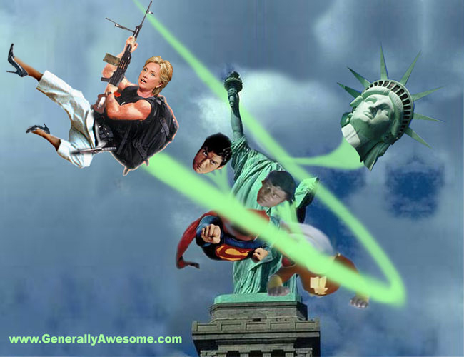 Hilary Vs Superman Shazam And The Statue Of Liberty