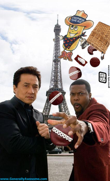 The guys are back at it again in the action packed thrill ride called Rush Hour 4, starring Jackie Chan, Chris Tucker and Twinkie the Kid in Paris. what a movie!