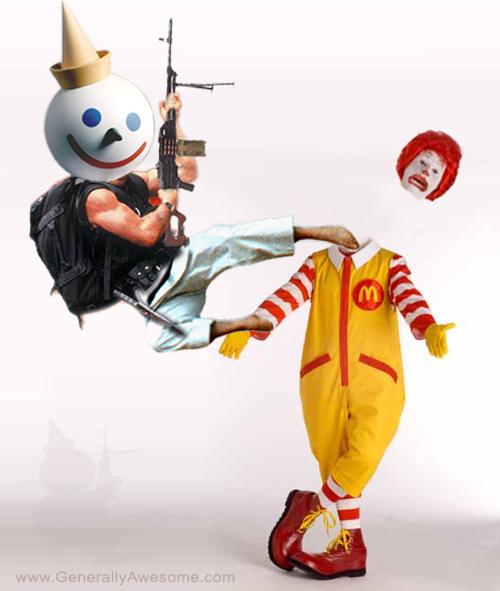 Jack from Jack in the box fast rood restaurant takes on Burger giant Ronald McDonald in a fastfood fight to the death.