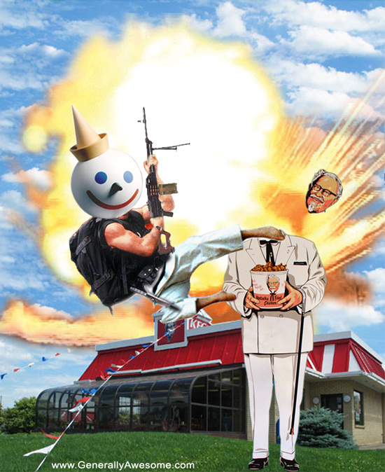 Jack vs. the Colonel.  Despite his military training, the Colonel is no match for Jack's Combat skills!