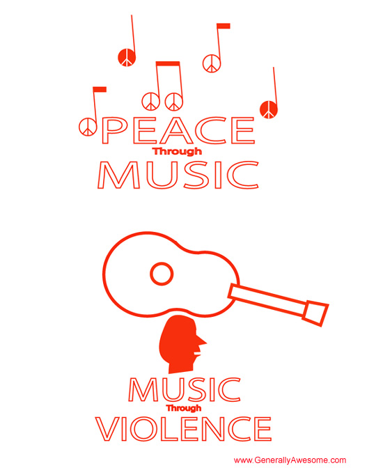 Music can be inspired by love or hate.  In this case violence is the inspiration!  But can music bring peace?  Probably, yes.  Long live peace!