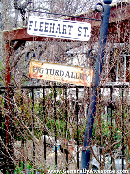 Look for Pig Turd Alley in Beautiful Amador City, CA in Amador County California, right in the heart of Gold Country.  Funny street sign.