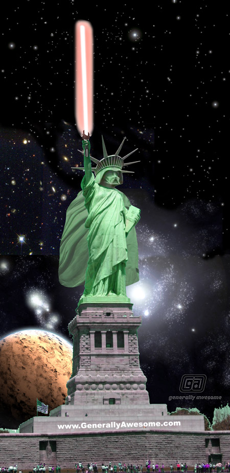 This funny picture was done using photoshop to combine Darth Vader's head with the body of the Statue of Liberty.